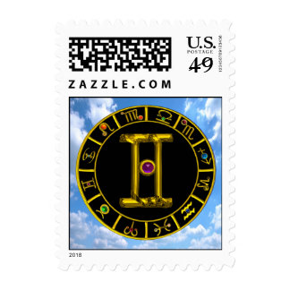 GEMINI / GOLD ZODIAC SIGNS CHART Astrology Postage