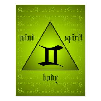 Gemini Holistic Triangle Mind Body Spirit Green Postcard
