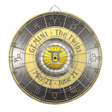 Gemini Horoscope Symbol Dartboard With Darts