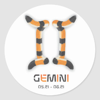 """""""Gemini in Tiger's Style"""". Classic Round Sticker"""