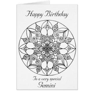 Gemini happy birthday cards greeting photo cards zazzle gemini mandala color your own birthday card bookmarktalkfo Choice Image