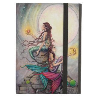Gemini Mermaid Fantasy Art Watercolor Illustration Cover For iPad Air