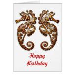Gemini Metallic Tribal Seahorses Greeting Card
