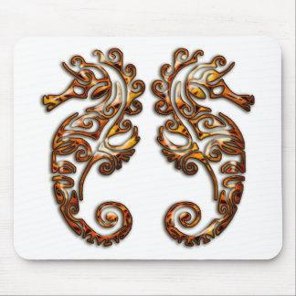 Gemini Metallic Tribal Seahorses Mousepads