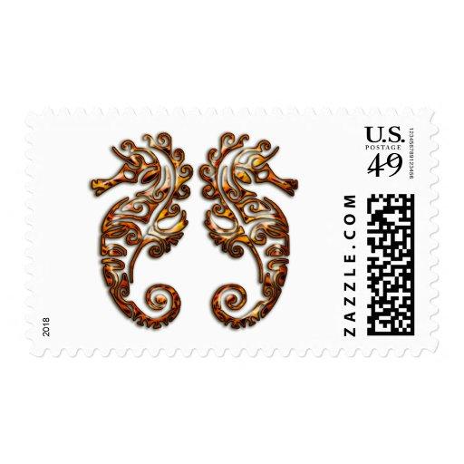 Gemini Metallic Tribal Seahorses Postage Stamp