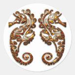 Gemini Metallic Tribal Seahorses Round Stickers