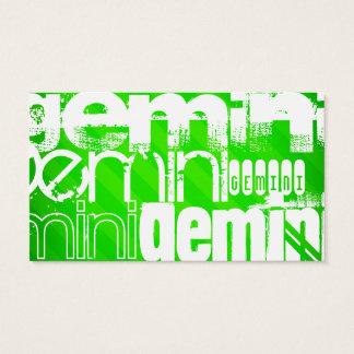 Gemini; Neon Green Stripes Business Card