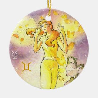 Gemini Double-Sided Ceramic Round Christmas Ornament