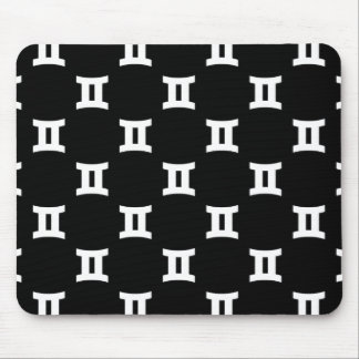 Gemini Pattern Black and White Mouse Pad