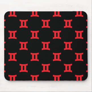 Gemini Pattern Red Mouse Pad
