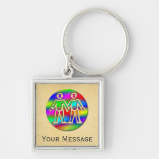 Gemini Rainbow Color Twins Luggage Tag Baggage Tag Silver-Colored Square Keychain