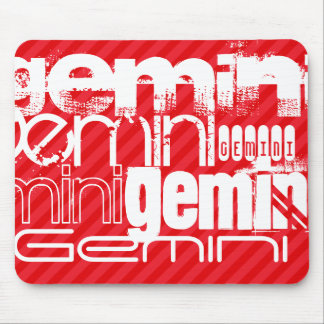 Gemini; Scarlet Red Stripes Mouse Pad