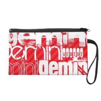 Gemini; Scarlet Red Stripes Wristlet