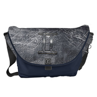 Gemini Sign in Distressed Siver Steel Style Messenger Bag