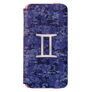 Gemini Sign on Navy Blue Digital Camouflage iPhone 6/6s Wallet Case
