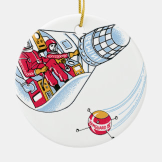 Gemini Space Capsule Double-Sided Ceramic Round Christmas Ornament