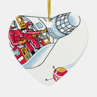 Gemini Space Capsule Double-Sided Heart Ceramic Christmas Ornament