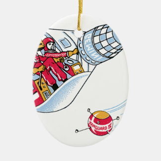 Gemini Space Capsule Double-Sided Oval Ceramic Christmas Ornament
