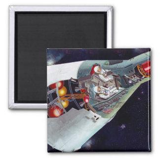 Gemini Spacecraft Cut-out 2 Inch Square Magnet