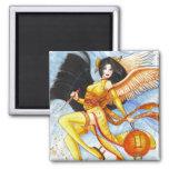 Gemini Square Magnet, Geisha Zodiac Fine Art