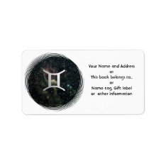 Gemini Star Sign Universe Name Gift Tag Bookplate at Zazzle