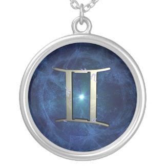 Gemini symbol round pendant necklace