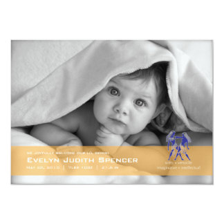 Gemini the Twin Photo Birth Announcement Card