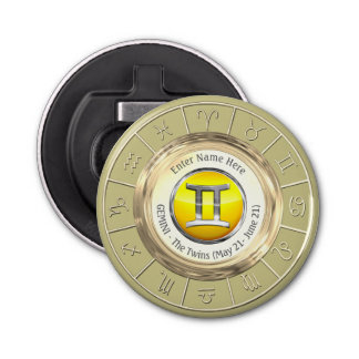 Gemini - The Twins Astrological Sign Bottle Opener