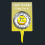 """Gemini - The Twins Astrological Sign Cake Topper<br><div class=""""desc"""">Customize this cake topper for someone celebrating their birthday between May 21 - June 21! Their birth sign is Gemini or The Twins,  the third one of the Zodiac,  ruled by Mercury,  the planet of communication. Their lucky color is Yellow and their sign&#39;s metal is Quicksilver.</div>"""