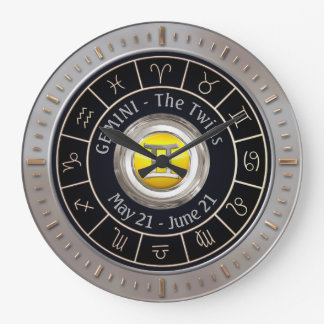 Gemini - The Twins Astrological Sign Large Clock