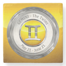 Gemini - The Twins Astrological Sign Stone Coaster
