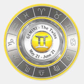 Gemini - The Twins Astrological Symbol Classic Round Sticker