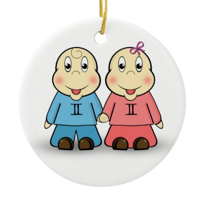 This cute cartoon characters holding hands depict the starsign Gemini the