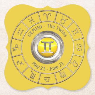 Gemini - The Twins Horoscope Symbol Paper Coaster