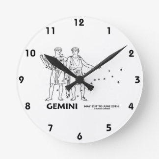Gemini The Twins (May 21st - June 20th) Round Clock