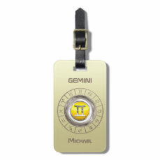 Gemini - The Twins Zodiac Symbol Luggage Tag