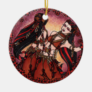 Gemini Tribal Belly Dance Double-Sided Ceramic Round Christmas Ornament