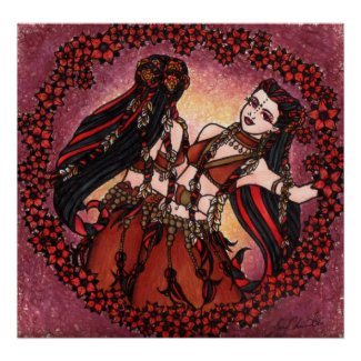 Gemini Tribal Original Belly Dance Art Poster