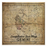 Gemini Twins Constellation Star Map June Poster