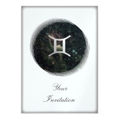 Gemini Twins Zodiac Star Sign Universe Party Event Card at Zazzle