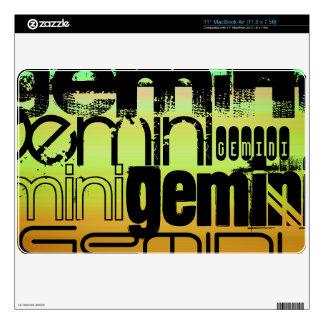 Gemini; Vibrant Green, Orange, & Yellow Skin For MacBook