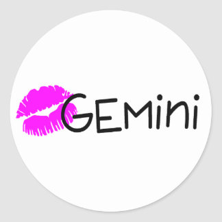 Gemini with Pink Kiss Classic Round Sticker