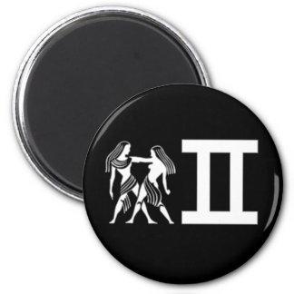 Gemini with Symbol 2 Inch Round Magnet