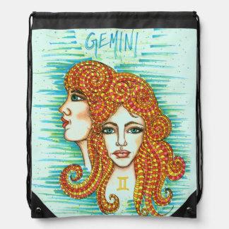 Gemini Woman Drawstring Bag