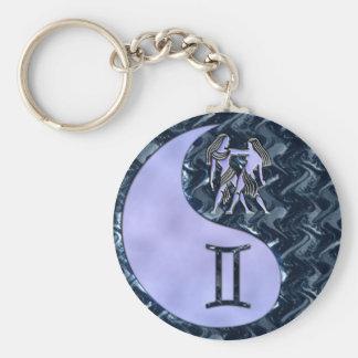 Gemini Yin Yang Basic Round Button Keychain