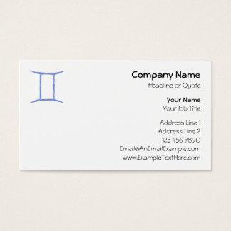 Gemini. Zodiac Astrological Sign. Blue. Business Card