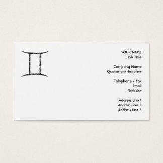 Gemini. Zodiac Astrology Sign. Black. Business Card