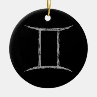 Gemini. Zodiac Astrology Sign. Black. Ceramic Ornament