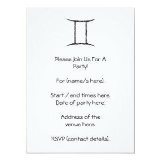 Gemini. Zodiac Astrology Sign. Black. 6.5x8.75 Paper Invitation Card