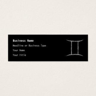 Gemini. Zodiac Astrology Sign. Black. Mini Business Card
